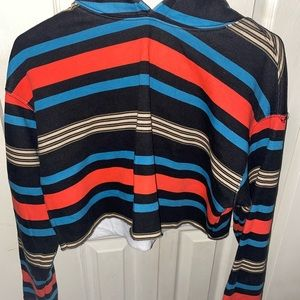 Urban Outfitters Cropped Horizontal Striped Hoodie